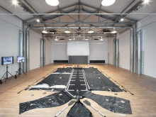 """Plastic Raft of Lampedusa by YoHa at the exhibition """"alien matter"""", transmediale 2017"""