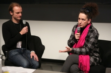 "Florian Wüst (left) in conversation with Rotraud Pape (right) at ""Technology Languages of the Past, Present, and Future"", transmediale 2017 ever elusive."
