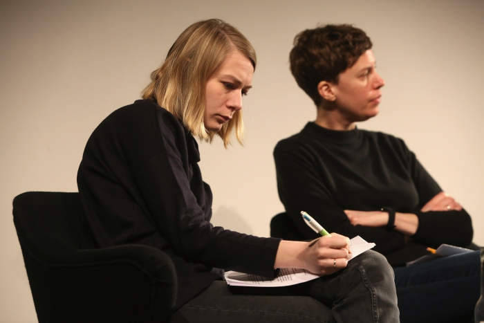 "Elvia Wilk and Jesse McLean at ""Middle Session: The Elemental Middle"", transmediale 2017 ever elusive."