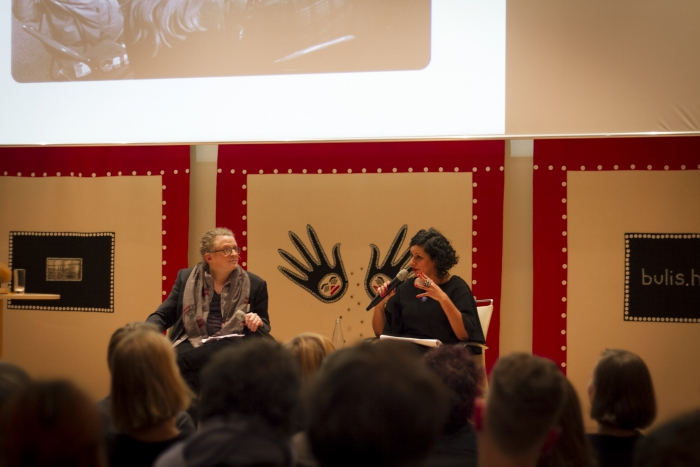 Baruch Gottliee (left) in conversation with Sara Sharma (right)