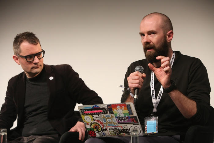 "Florian Cramer and Finn Brunton at ""Middle Session: The Middle to Come"", transmediale 2017 ever elusive."