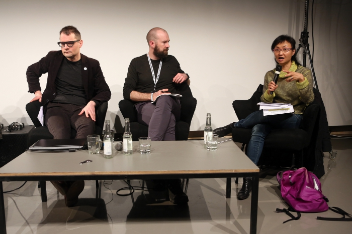 "Florian Cramer, Finn Brunton and Wendy Hui Kyong Chun at ""Middle Session: The Middle to Come"", transmediale 2017"