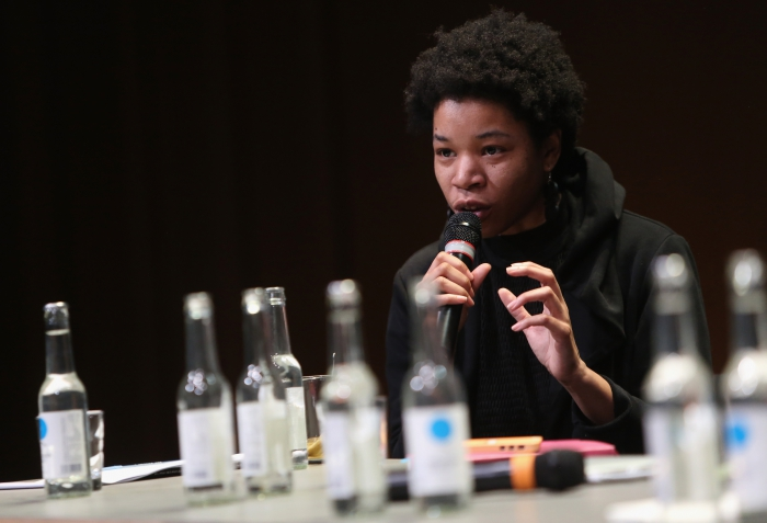"Rasheedah Phillips at the panel ""Singularities"", transmediale 2017"