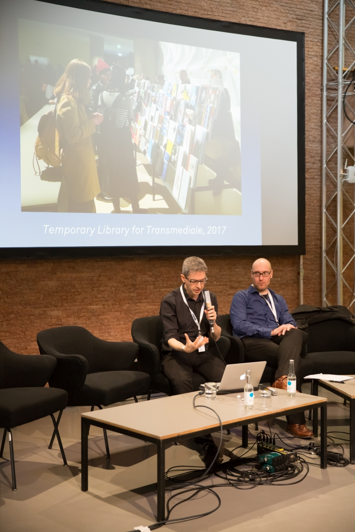 "Alessandro Ludovico and Jussi Parikka at the talk ""The Temporary Library"", transmediale 2017"