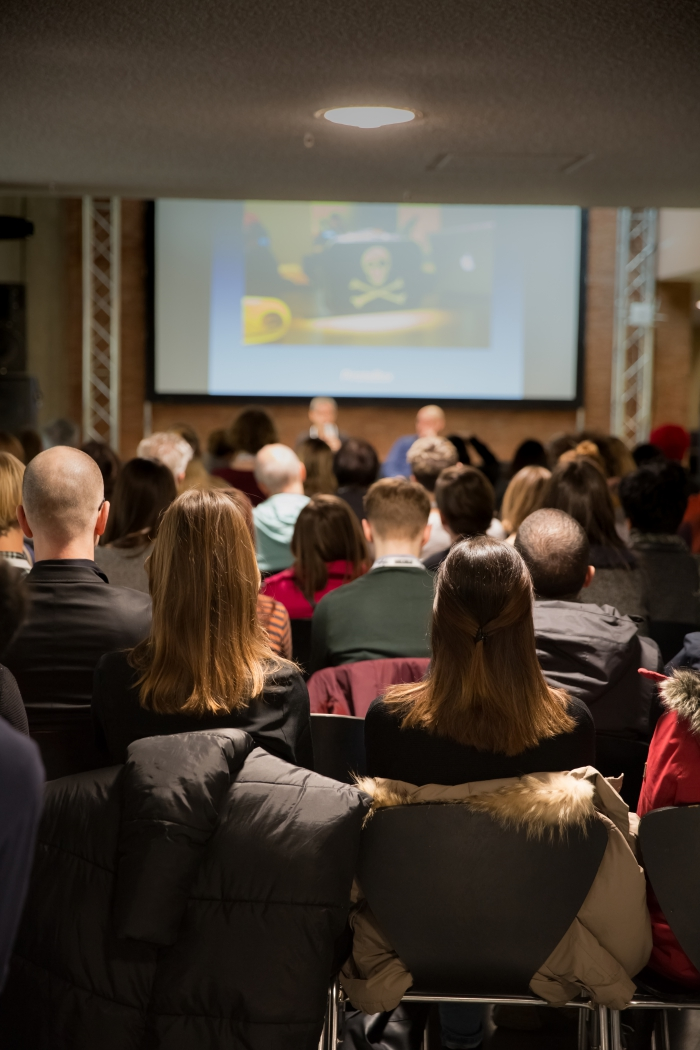 "Audience at the talk ""The Temporary Library"", transmediale 2017"