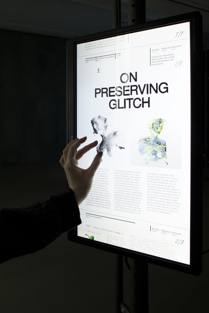 """The 3D Additivist Cookbook by Morehshin Allahyari and Daniel Rourke at the exhibition """"alien matter"""", transmediale 2017."""