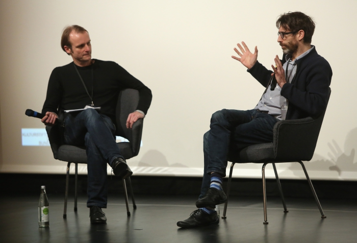 "Florian Wüst (left) in conversation with Caspar Stracke (right) after the screening ""redux/time/OUT OF JOINT"" at transmediale 2017."
