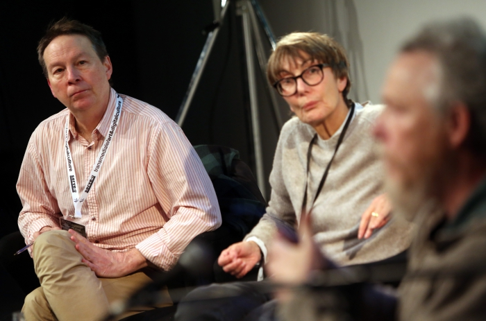 "Ryan Bishop (left) and Marie-Luise Angerer (right) at ""Material Flows: Rafts and Bodies at Sea"""